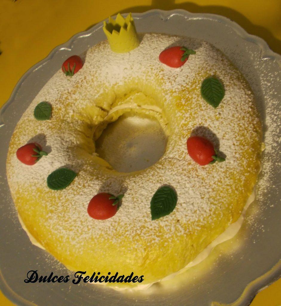 Roscón de Reyes relleno de ganaché de fresa