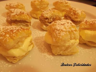 Bocaditos de hojaldre con crema pastelera