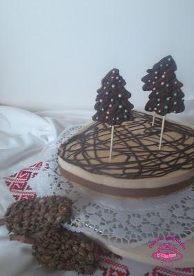 Tarta de turrón y chocolate