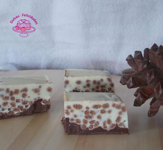 Turrón crujiente de dos chocolates
