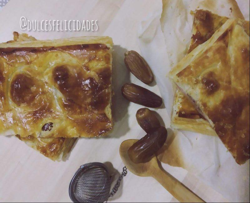 Hojaldre de jamón y queso con dátiles