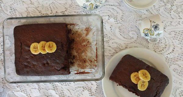 Bizcocho de plátano y chocolate. Bizcocho muy jugoso de banana y cacao